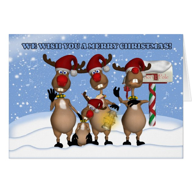 Singing Christmas Reindeer Greeting Card From All Zazzle