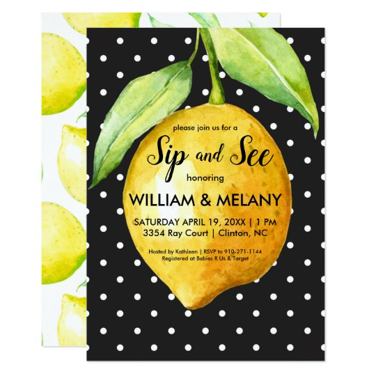 Sip And See A Citrus Coed Baby Shower Invitation