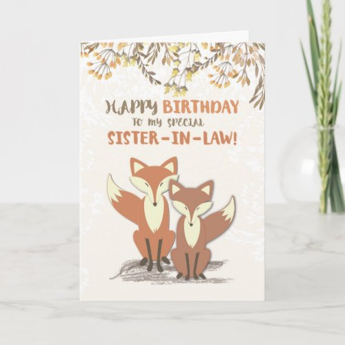 Sister-in-Law Birthday Foxes, Leaves on Branches Card
