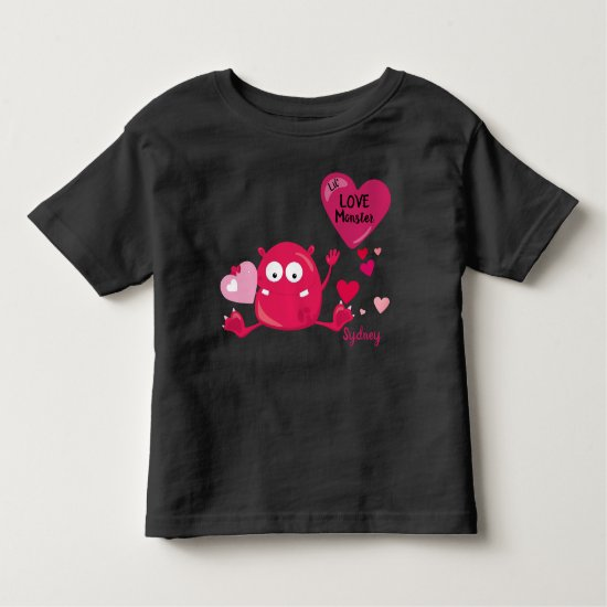 Sitting Purple Little Love Monster with a Heart | Toddler T-shirt