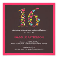 Sixteen of Hearts Sweet 16 Party Invitation
