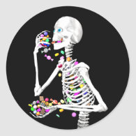 Skeleton Eating Halloween Candy Classic Round Sticker