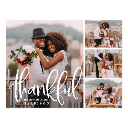 Sketched Thanks | Wedding Photo Collage Thank You Postcard