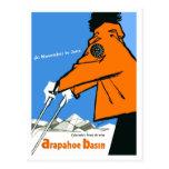 Ski in Colorado, woman in red jacket, vintage Postcard
