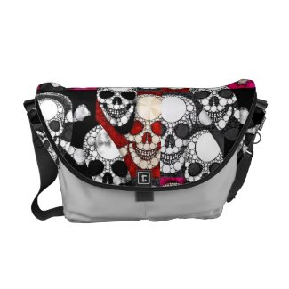 Skull and Bones Metal Textured Pop Messenger Bag