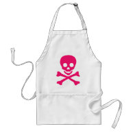 Pink Skull on White Apron on Zazzle