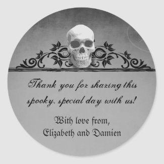 Skull Frame Halloween Wedding Round Sticker