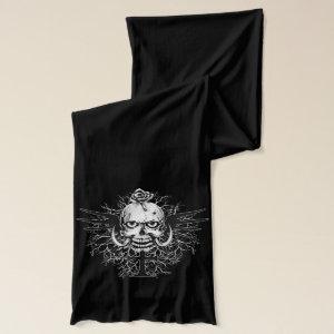 Skull With Rose, Horns, Cross, Wings Illustration Scarf