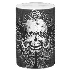 Skull With Rose, Horns, Cross, Wings Illustration Soap Dispenser And Toothbrush Holder
