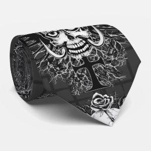Skull With Rose, Horns, Cross, Wings Tie