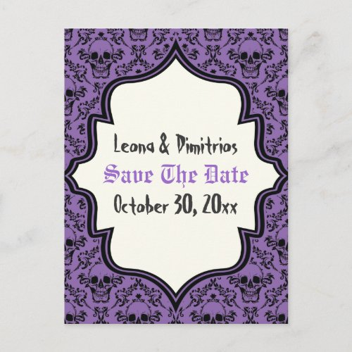 Skulls damask purple black Halloween Save the Date Announcement Postcard