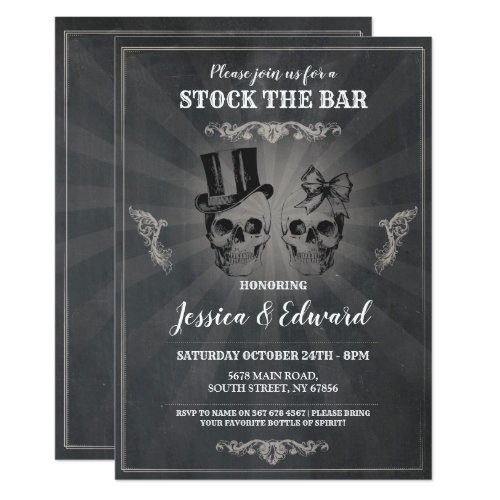 Skulls Stock The Bar Halloween Chalk Invitation