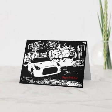 Skyline GTR with Graffiti Car Themed Birthday Card