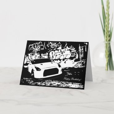 Skyline GTR with Graffiti CarTheme Birthday Card