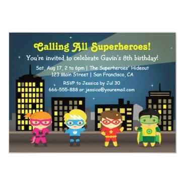 Skyline Superhero Birthday Party For Kids Invitation