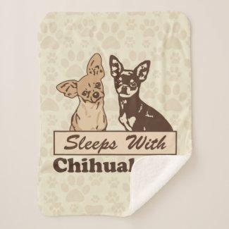 Sleeps With Chihuahuas Sherpa Blanket