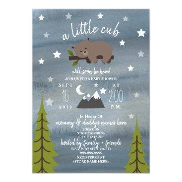 Sleepy Bear Cub  Mountains Watercolor Baby Shower Card