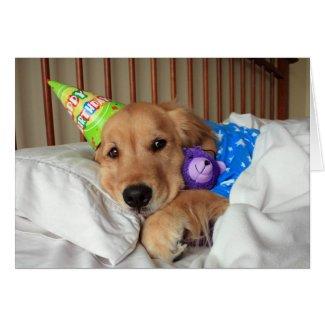 Sleepy Golden Retriever in Pajamas Birthday Greeting Cards