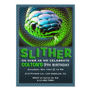 Slither Snake Green Reptile Birthday Invitation