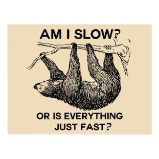 Sloth am I slow? Beige Postcard