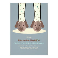 Slumber Party Puppy Slippers Invitation