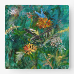 small blue butterfly square wall clock