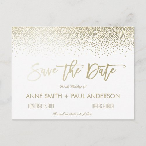 Small Confetti Save the Date Announcement Postcard