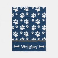 Small Navy Dog Blanket Personalized Paw Prints