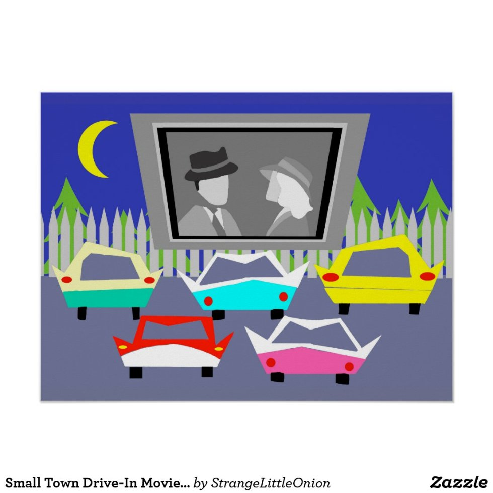 Small Town Drive-In Movie Poster