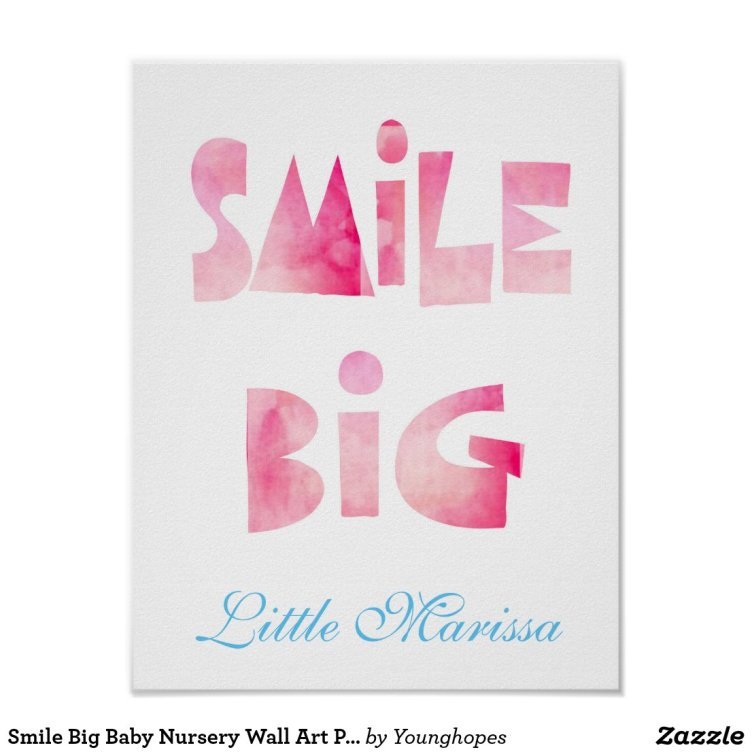Smile Big Baby Nursery Wall Art Print Poster