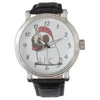 Smiling Cartoon Pug in a Unicorn Costume Wrist Watch