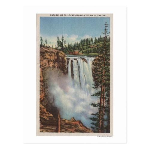 Snoqualmie Falls, WA - View of Falls at Top Postcard