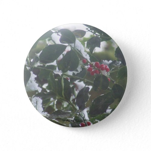 Snow Covered Holly button