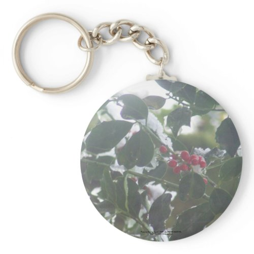 Snow Covered Holly keychain