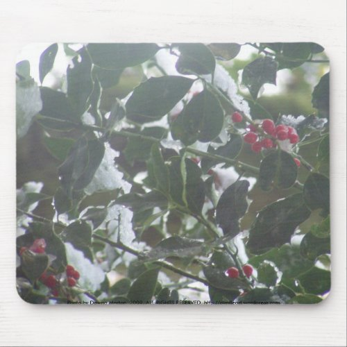 Snow Covered Holly mousepad