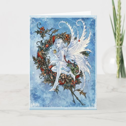 Snow fairy Yuletide greeting card