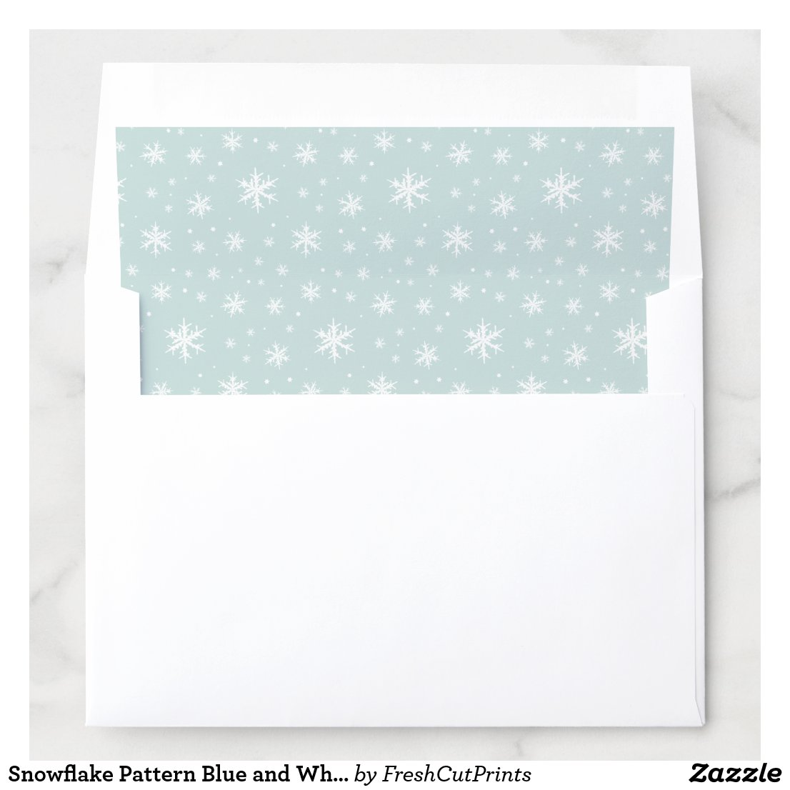 Snowflake Pattern Blue and White Winter Holiday Envelope Liner