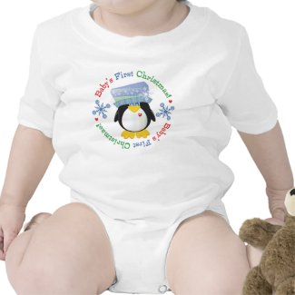 Snowflake Penguin Baby's First Christmas T-shirt