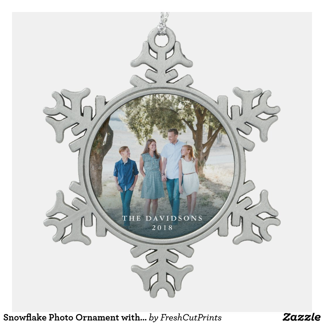 Snowflake Photo Ornament with Family Name