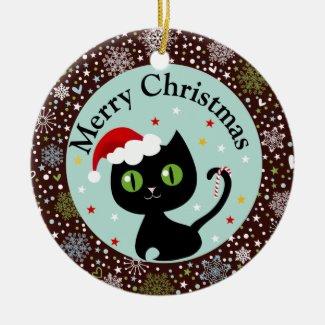 Merry Christmas Black Kitten Ornament