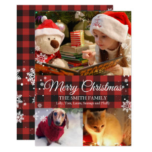 Snowflakes & Buffalo Plaid 3 Photo Christmas Card