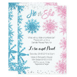 Snowflakes Winter gender reveal invitation