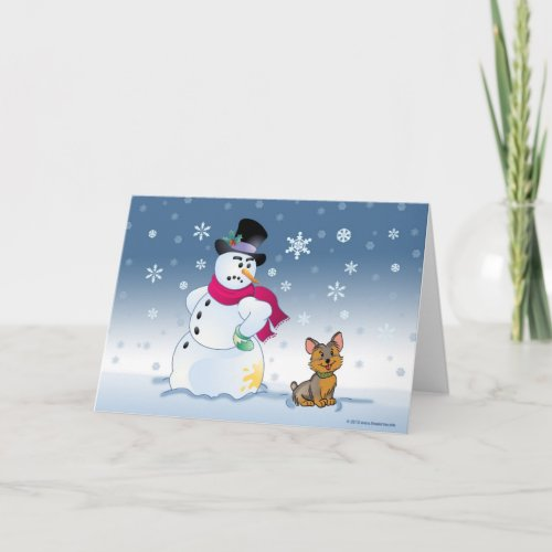 Snowman and Yorkie Christmas card