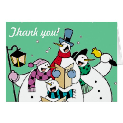 Snowman Christmas Carolers Thank You Card Zazzle