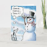 Snowman Fetch Dog Throw It Greeting Card