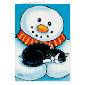 Snowman Holding Sleeping Tuxedo Cat Painting Greeting Card
