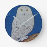 Snowy Owl Wall Clock Decor