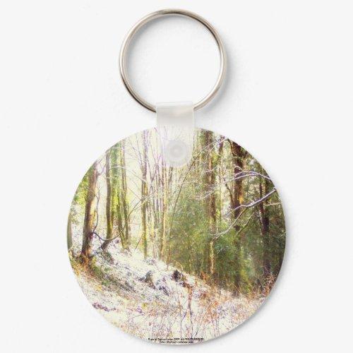 Snowy Sunlit Forest Glade #2 keychain