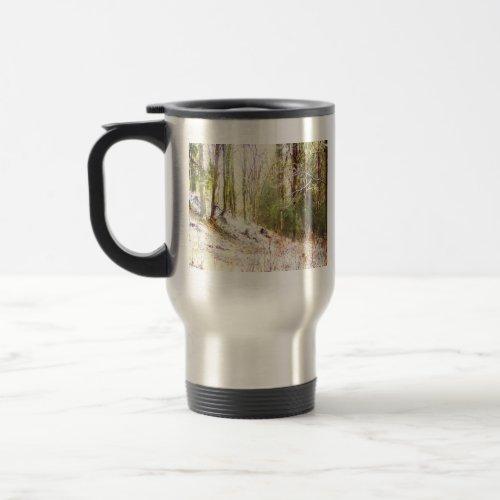 Snowy Sunlit Forest Glade #2 mug