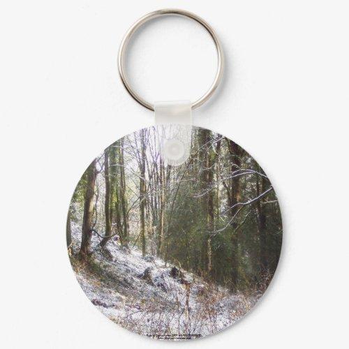 Snowy Sunlit Forest Glade keychain